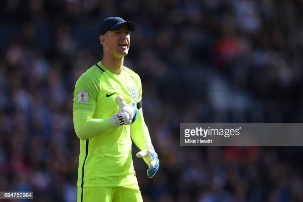 Joe Hart of England in action during the FIFA 2018 World Cup Qualifier between Scotland and England at Hampden Park National Stadium on June 10 2017...