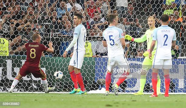 Joe Hart of England looks on as Russia score a late equaliser during the UEFA EURO 2016 Group B match between England and Russia at Stade Velodrome...