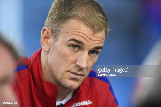 Joe Hart of England looks on during an England media session at St Georges Park on October 2 2017 in BurtonuponTrent England England are due to play...