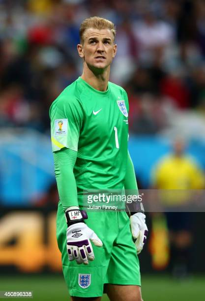 Joe Hart of England looks on during the 2014 FIFA World Cup Brazil Group D match between Uruguay and England at Arena de Sao Paulo on June 19 2014 in...