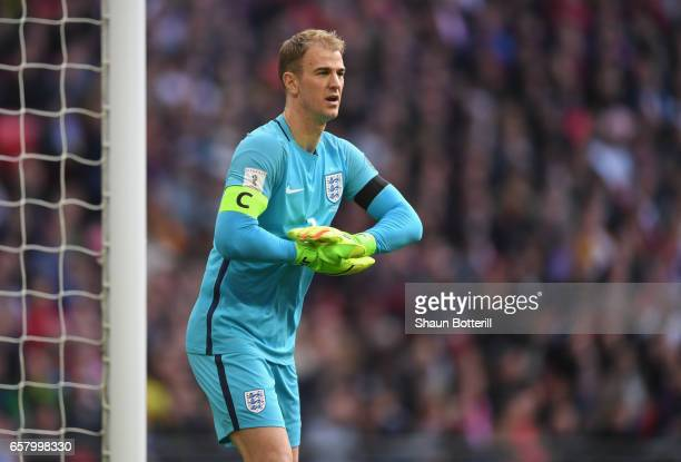 Joe Hart of England looks on during the FIFA 2018 World Cup Qualifier between eEngland and Lithuania at Wembley Stadium on March 26 2017 in London...