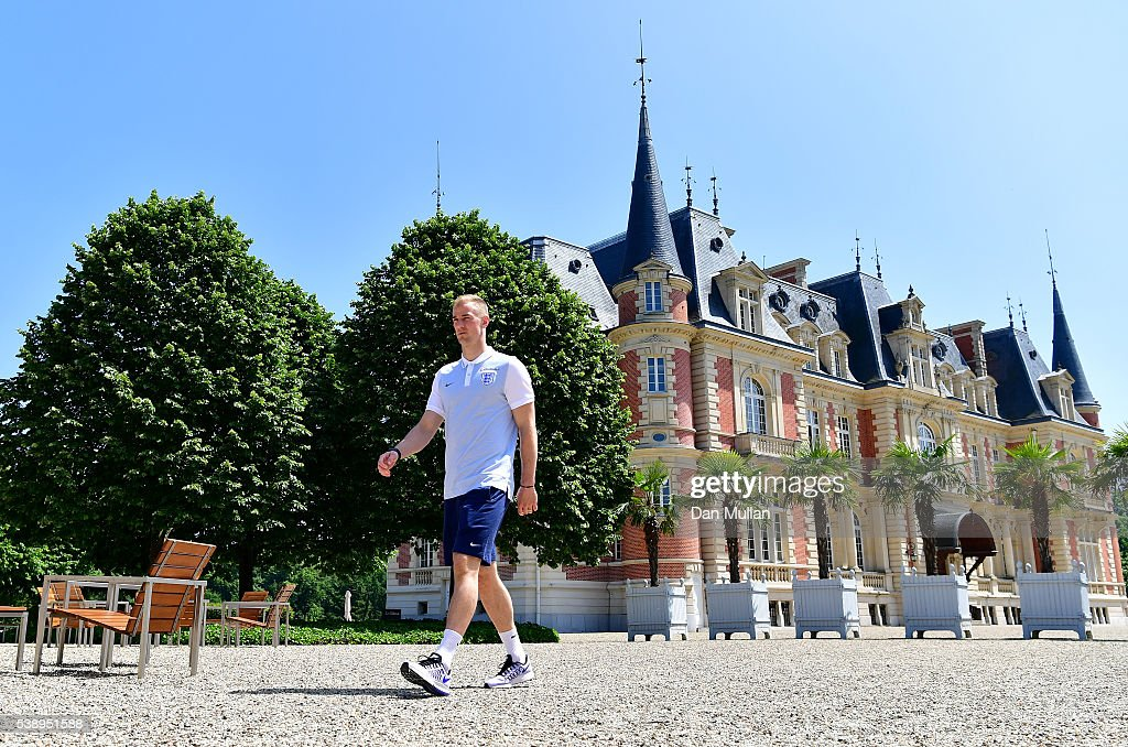 Joe Hart of England poses following a press conference at Les Fontaines on June 9, 2016 in Chantilly, France.