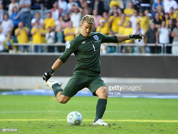 Joe Hart of England scores from the penalty spot during the UEFA U21 European Championships SemiFinal match between England and Sweden at the Gamia...