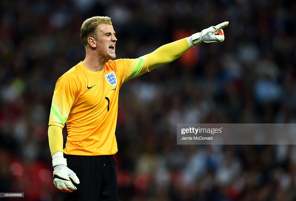 Joe Hart of England shouts instructions during the International friendly match between England and Norway at Wembley Stadium on September 3, 2014 in London, England.