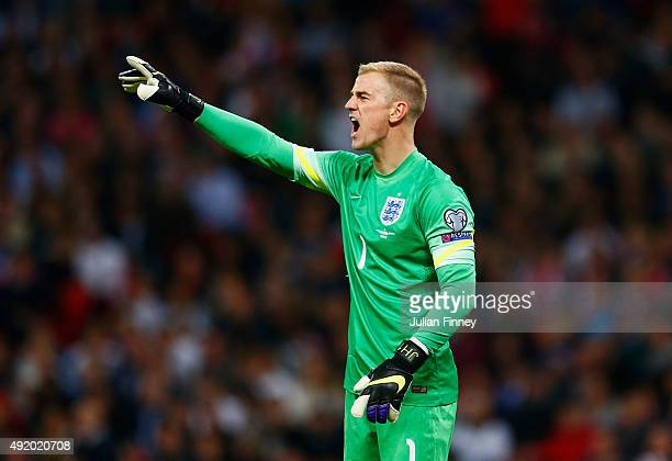 Joe Hart of England shouts instructions during the UEFA EURO 2016 Group E qualifying match between England and Estonia at Wembley on October 9 2015...