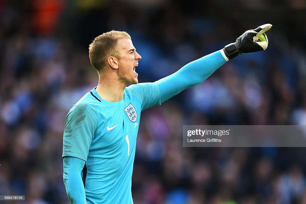 Joe Hart of England shouts instructions to his team-mates during the International Friendly match between England and Turkey at Etihad Stadium on May 22, 2016 in Manchester, England.