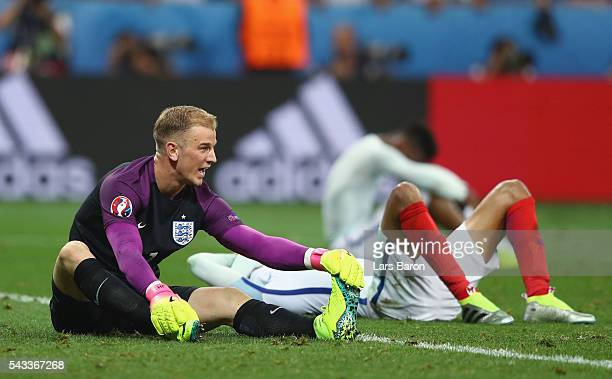 Joe Hart of England shows his dejection after his team's 12 defeat in the UEFA EURO 2016 round of 16 match between England and Iceland at Allianz...