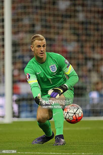 Joe Hart of England throws out the ball during the UEFA Euro 2016 Qualifier match between England and Estonia at Wembley Stadium on October 9 2015 in...