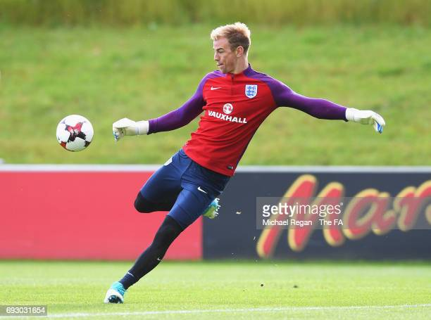 Joe Hart of England trains during England media access at St George's Park on June 6, 2017 in Burton-upon-Trent, England.