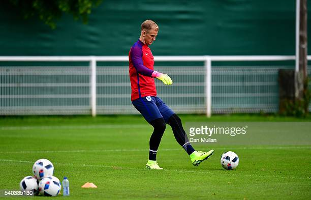 Joe Hart of England warms up during a training session at Stade du Bourgognes ahead of the UEFA Euro 2016 match against Wales on June 15 2016 in...