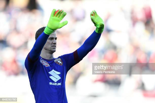 Joe Hart of FC Torino celebrates victory at the end of the Serie A match between FC Torino and US Citta di Palermo at Stadio Olimpico di Torino on...