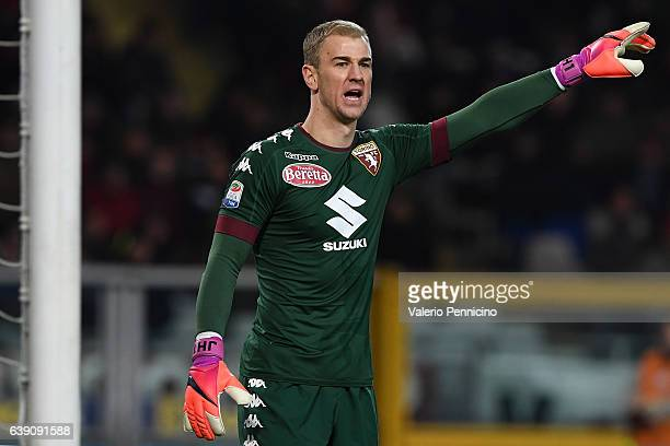 Joe Hart of FC Torino issues instructions during the Serie A match between FC Torino and AC Milan at Stadio Olimpico di Torino on January 16 2017 in...