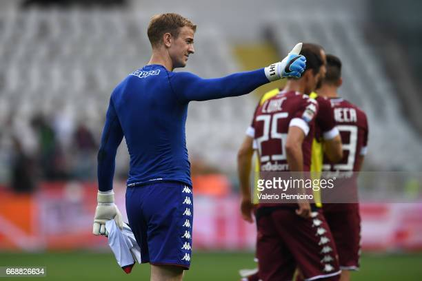 Joe Hart of FC Torino salutes at the end of the Serie A match between FC Torino and FC Crotone at Stadio Olimpico di Torino on April 15 2017 in Turin...