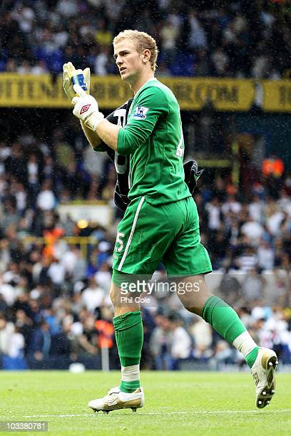 Joe Hart of Manchester City applaudes the fans after the Barclays Premier League match between Tottenham Hotspur and Manchester City at White Hart...