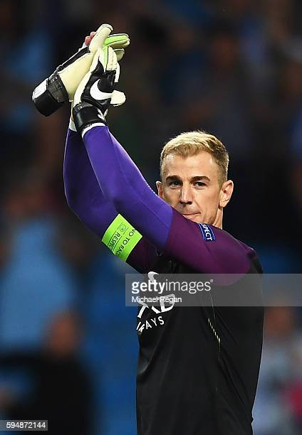 Joe Hart of Manchester City applauds the fans after the UEFA Champions League Playoff Second Leg match between Manchester City and Steaua Bucharest...