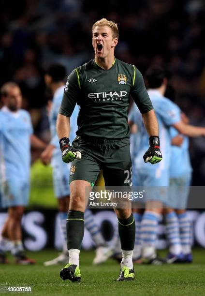 Joe Hart of Manchester City celebrates at the end of the Barclays Premier League match between Manchester City and Manchester United at the Etihad...