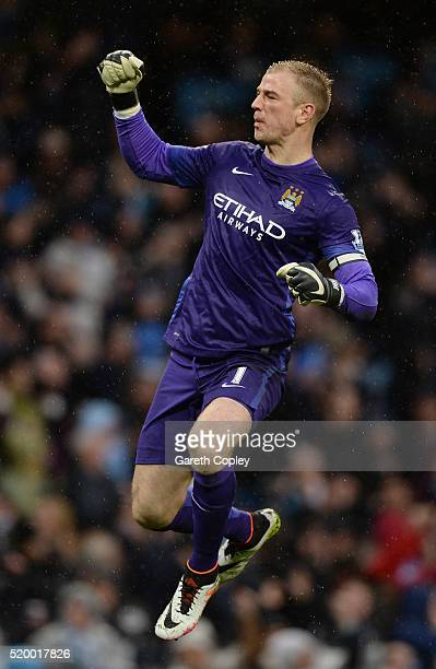 Joe Hart of Manchester City celebrates the goal scored by Samir Nasri of Manchester City during the Barclays Premier League match between Manchester...