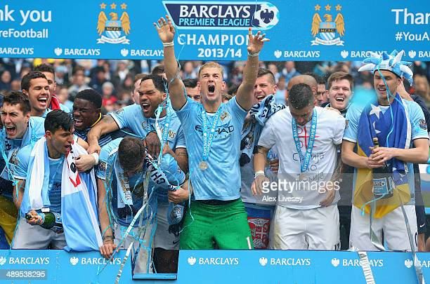 Joe Hart of Manchester City celebrates with his teammates at the end of the Barclays Premier League match between Manchester City and West Ham United...