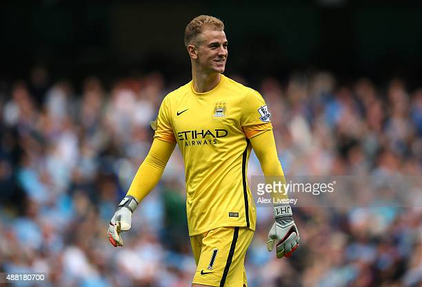 Joe Hart of Manchester City during the Barclays Premier League match between Manchester City and Watford at Etihad Stadium on August 29 2015 in...