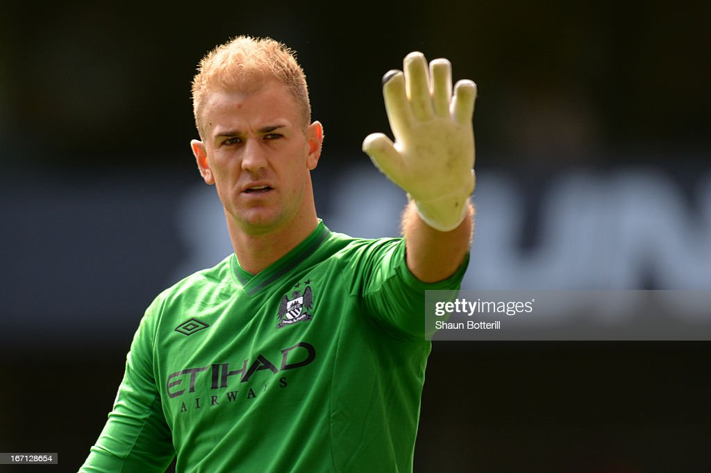 Joe Hart of Manchester City gestures during the Barclays Premier League match between Tottenham Hotspur and Manchester City at White Hart Lane on April 21, 2013 in London, England.