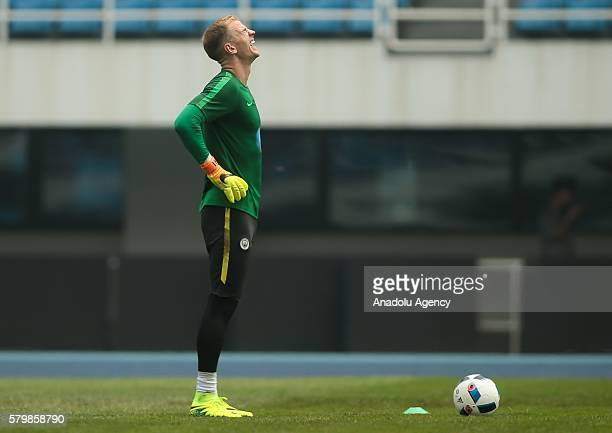 Joe Hart of Manchester City gestures during the pregame training ahead of the 2016 International Champions Cup match between Manchester City and...