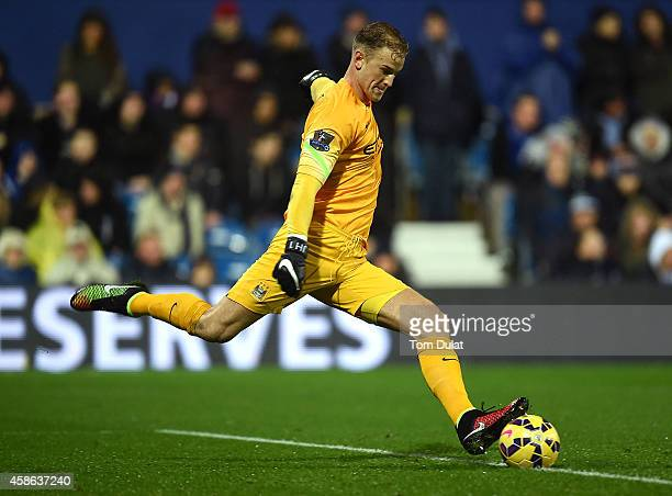 Joe Hart of Manchester City in action during the Barclays Premier League match between Queens Park Rangers and Manchester City at Loftus Road on...