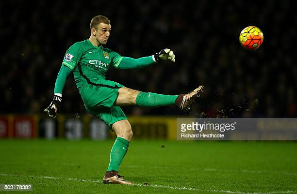 Joe Hart of Manchester City kicks up field during the Barclays Premier League match between Watford and Manchester City at Vicarage Road on January 2...