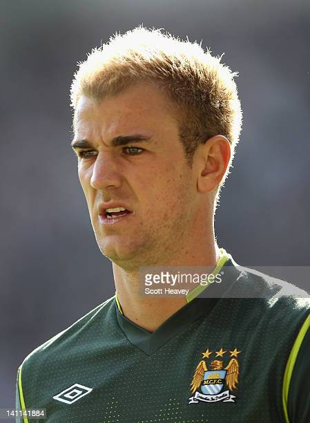 Joe Hart of Manchester City looks on during the Barclays Premier League match between Swansea City and Manchester City at the Liberty Stadium on...
