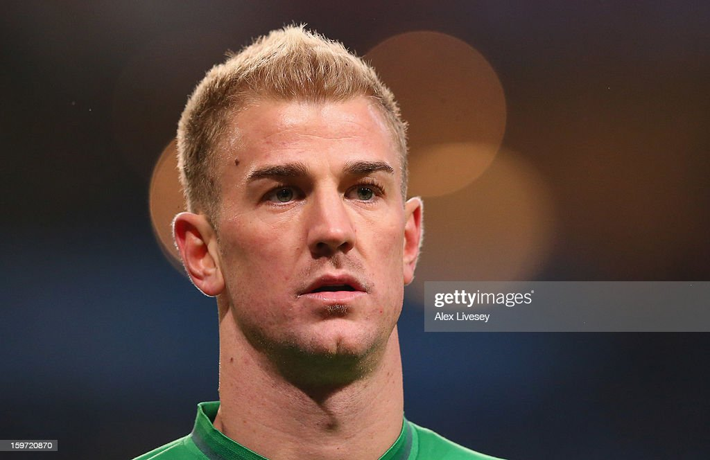 Joe Hart of Manchester City looks on during the Barclays Premier League match between Manchester City and Fulham at Etihad Stadium on January 19, 2013 in Manchester, England.