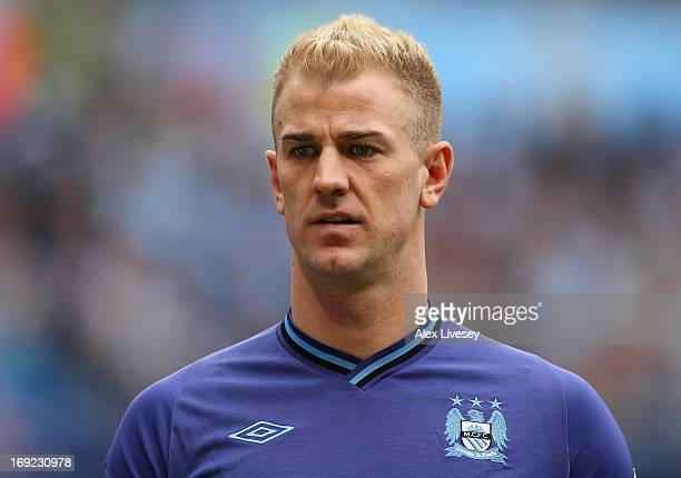 Joe Hart of Manchester City looks on during the Barclays Premier League match between Manchester City and Norwich City at Etihad Stadium on May 19...
