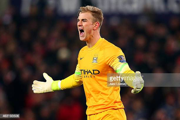 Joe Hart of Manchester City reacts during the Barclays Premier League match between Stoke City and Manchester City at Britannia Stadium on February...