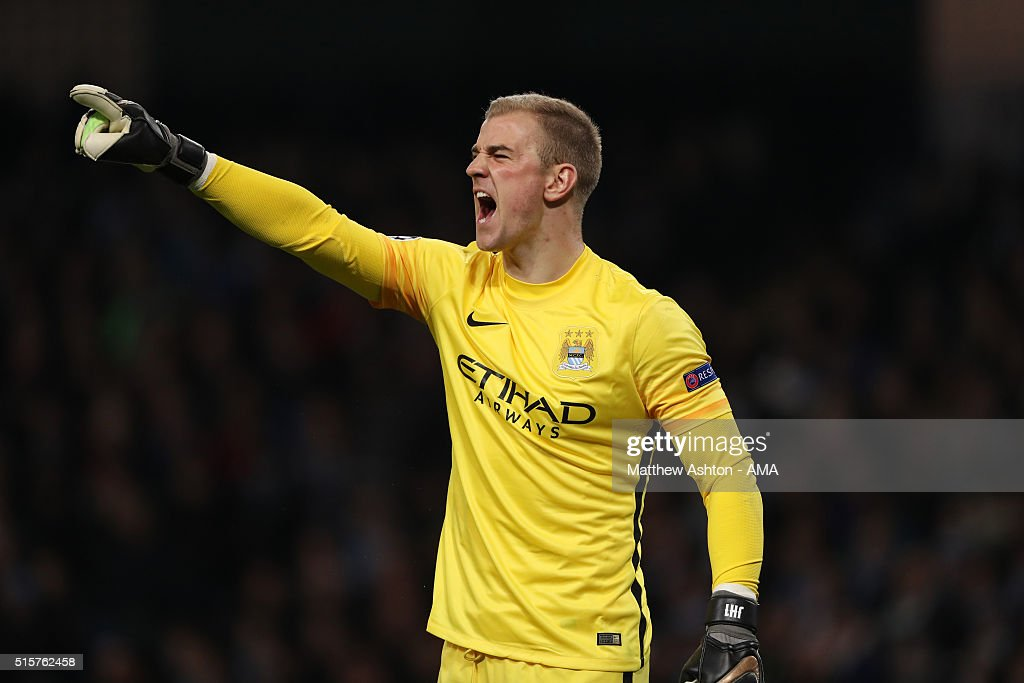 Joe Hart of Manchester City reacts during the UEFA Champions League match between Manchester City and Dynamo Kyiv at the Etihad Stadium on March 15, 2016 in Manchester, United Kingdom.