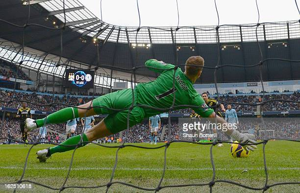 Joe Hart of Manchester City saves a penalty from Frank Lampard of Chelsea penalty during the Barclays Premier League match between Manchester City...