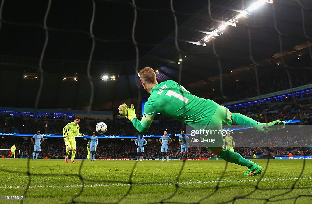 Joe Hart of Manchester City saves a penalty from Lionel Messi of Barcelona during the UEFA Champions League Round of 16 match between Manchester City and Barcelona at Etihad Stadium on February 24, 2015 in Manchester, United Kingdom.