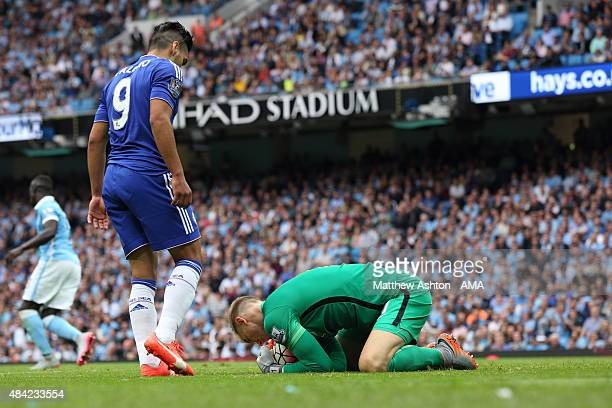 Joe Hart of Manchester City saves from Radamel Falcao of Chelsea during the Barclays Premier League match between Manchester City and Chelsea at the...