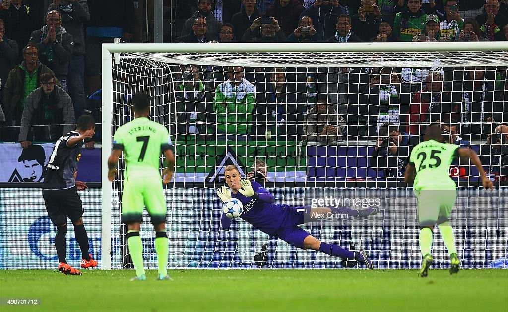 Joe Hart of Manchester City saves the penalty from Raffael of Borussia Monchengladbach during the UEFA Champions League Group D match between VfL Borussia Monchengladbach and Manchester City at the Borussia Park Stadium on September 30, 2015 in Moenchengladbach, Germany.
