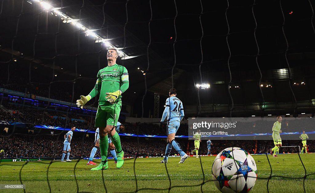 Joe Hart of Manchester City shows his frustration after Luis Suarez of Barcelona (not pictured) scored a second goal during the UEFA Champions League Round of 16 match between Manchester City and Barcelona at Etihad Stadium on February 24, 2015 in Manchester, United Kingdom.