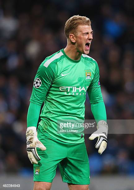 Joe Hart of Manchester City shows his frustration after the second goal scored by Stanislav Tecl of Plzen during the UEFA Champions League Group D...