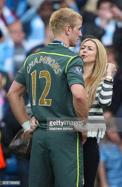 Joe Hart of Manchester City with his girlfriend Kimberley Crew