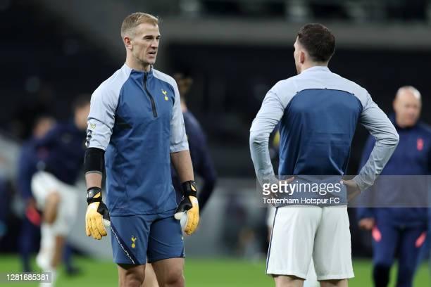 Joe Hart of Tottenham Hotspur looks on as he speaks to PierreEmile Højbjerg of Tottenham Hotspur during the warm up during the UEFA Europa League...