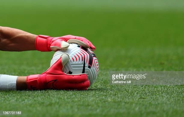 Joe Hart of Tottenham Hotspur saves a Nike Flight Premier League ball ahead of the Pre-season friendly match between Tottenham Hotspur and Ipswich...