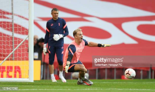 Joe Hart of Tottenham Hotspur warms up during the Premier League match between Manchester United and Tottenham Hotspur at Old Trafford on October 04...