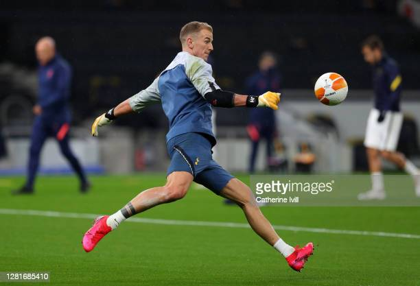 Joe Hart of Tottenham Hotspur warms up during the UEFA Europa League Group J stage match between Tottenham Hotspur and LASK at Tottenham Hotspur...