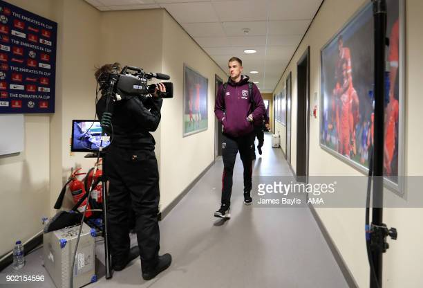 Joe Hart of West Ham United arrives at the Montgomery Waters Meadow home stadium of Shrewsbury Town before The Emirates FA Cup Third Round between...