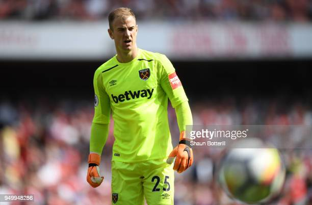 Joe Hart of West Ham United looks dejected following the Premier League match between Arsenal and West Ham United at Emirates Stadium on April 22...