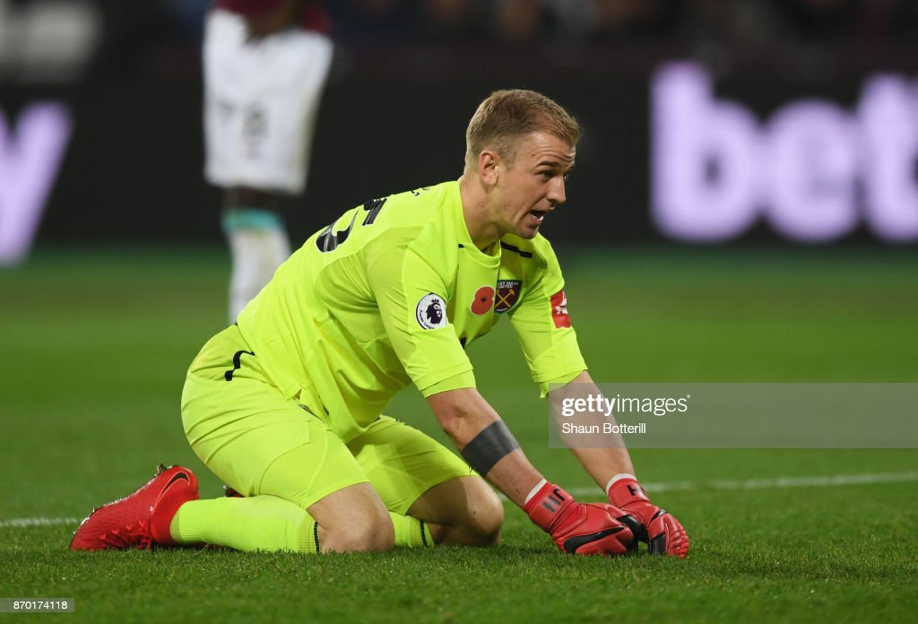 Joe Hart of West Ham United looks on during the Premier League match between West Ham United and Liverpool at London Stadium on November 4, 2017 in London, England.