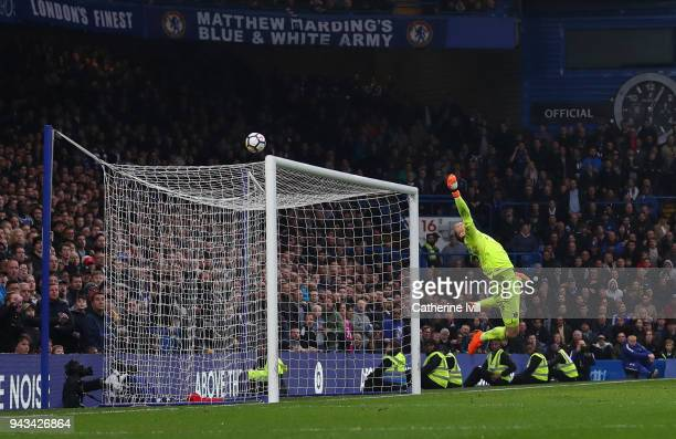 Joe Hart of West Ham United makes a save during the Premier League match between Chelsea and West Ham United at Stamford Bridge on April 8 2018 in...