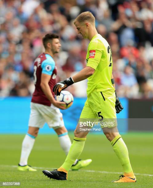 Joe Hart of West Ham United reacts during the Premier League match between West Ham United and Tottenham Hotspur at London Stadium on September 23...