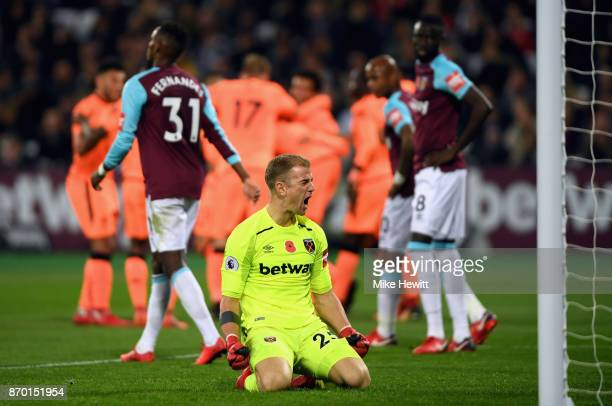 Joe Hart of West Ham United reacts during the Premier League match between West Ham United and Liverpool at London Stadium on November 4 2017 in...