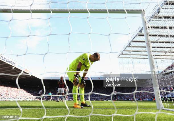 Joe Hart of West Ham United reacts to letting a third goal in during the Premier League match between Newcastle United and West Ham United at St...
